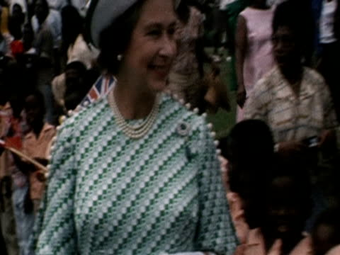 The Queen greets children in Antigua during her Silver Jubilee tour