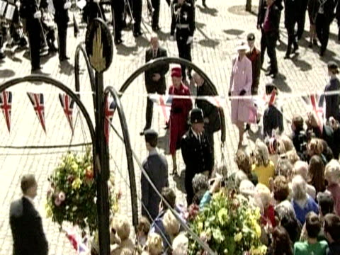 the queen greets the crowds in falmouth during her golden jubilee regional tour of the united kingdom - golden jubilee stock videos & royalty-free footage