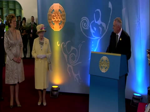 the queen has carried out another highly significant visit today to croke park stadium where 14 people were killed by british forces 91 years ago... - the queen stock videos and b-roll footage