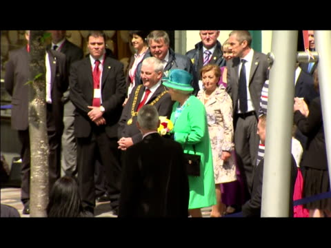 the queen has finished her four day tour of ireland with a trip to a market in cork it was the first walkabout of her state visit which has been... - the queen stock videos and b-roll footage