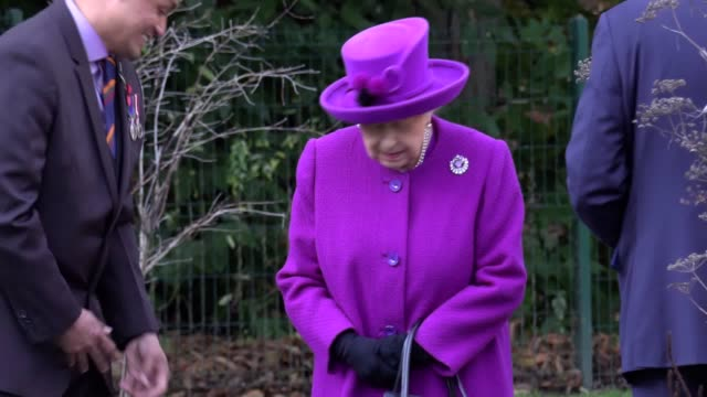 the queen has visited the royal british legion industries centenary village as part of the rbli's 100th anniversary celebrations. during her visit... - elizabeth ii stock videos & royalty-free footage