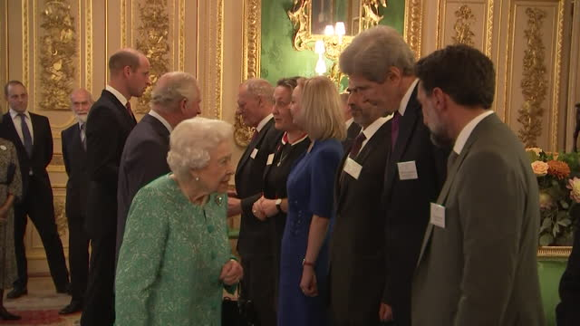 the queen hosts a reception for international business and investment leaders at windsor castle, accompanied by boris johnson, prince charles and... - finance and economy stock videos & royalty-free footage