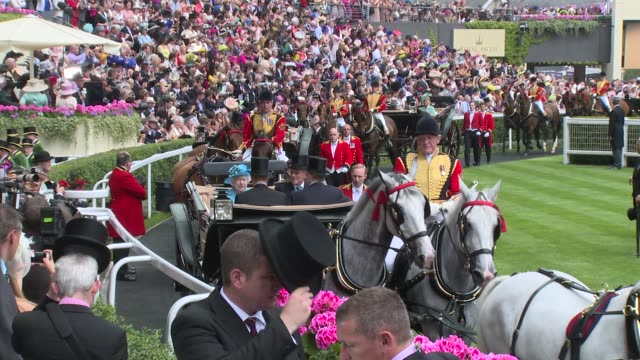 hm the queen hrh the duke of edinburgh at ascot ladies day at ascot race course on 19th june 2014 in ascot england - 2014 stock videos and b-roll footage