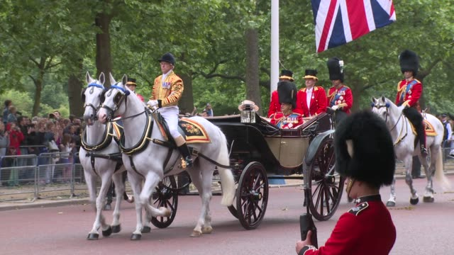the queen, hrh the duke of edinburgh, prince william, prince charles, princess anne at trooping the colour on 13th june 2015 in london, england. - fahnenparade stock-videos und b-roll-filmmaterial