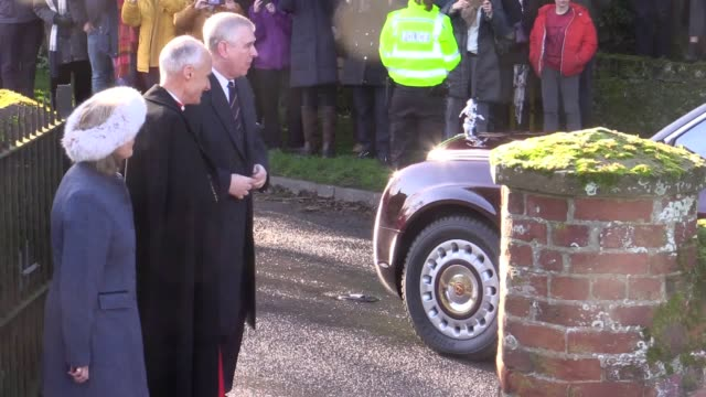 the queen is accompanied by prince andrew as she arrives at a sunday service at st mary the virgin church in hillington on her sandringham estate in... - arts culture and entertainment stock videos & royalty-free footage