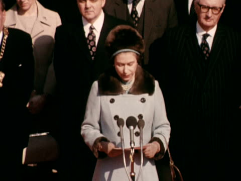 the queen makes a speech at the opening ceremony of the new community centre in the village of aberfan. march 1973. - opening ceremony stock videos & royalty-free footage