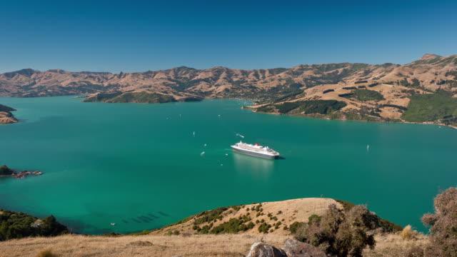 the queen mary 2 cruise ship - akaroa stock videos & royalty-free footage