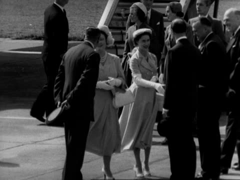 the queen mother and princess margaret chat to various people at london airport following their return from their tour of southern rhodesia 1953 - variation stock videos & royalty-free footage
