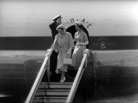 the queen mother princess margaret prince philip and the queen disembark a passenger aircraft at london aiport 1953 - 1953 stock videos & royalty-free footage