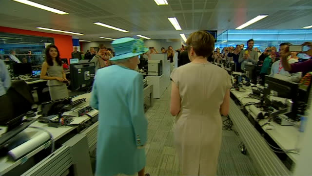 the queen officially opens the new bbc broadcasting house; queen meeting musicians ext royal standard flying int queen along / queen meeting staff /... - james naughtie stock videos & royalty-free footage