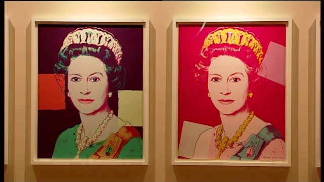 'the queen portraits of a monarch' exhibition at windsor castle england berkshire windsor castle 'the queen portraits of a monarch' exhibition int... - windsor england stock videos and b-roll footage