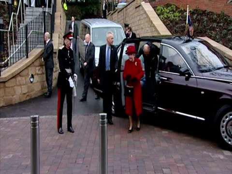 the queen prince philip arrive at the university of sheffield institute for translational neuroscience greet dignitaries at the entrance the queen... - sheffield stock videos and b-roll footage