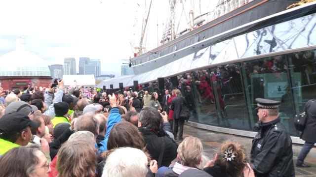 The Queen Prince Philip make their way into the Cutty Sark exhibit as The Queen and the Duke Of Edinburgh reopen the Cutty Sark after a £50 million...
