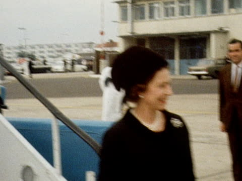 The Queen Queen Mother and Princess Margaret arrive back in London for the funeral of Princess Marina 1968
