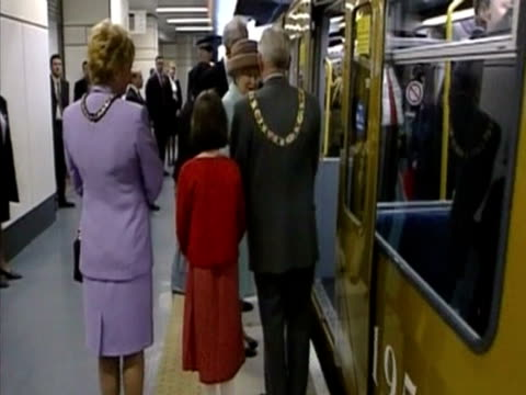 the queen rides the metro in sunderland as part of the golden jubilee tour - tyne and wear stock videos & royalty-free footage