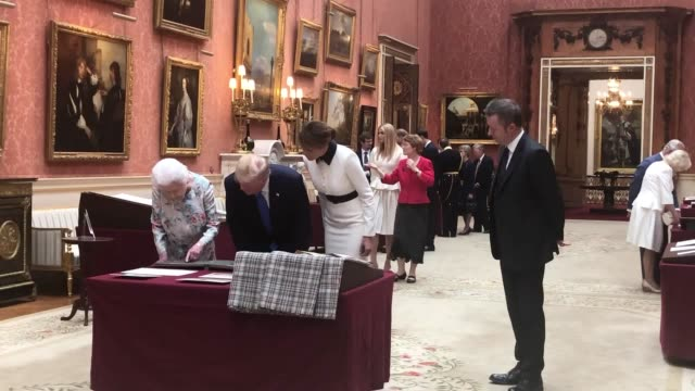 the queen shows us president donald trump and first lady melania trump the items and artworks from the royal collection earlier the trumps were... - melania trump stock videos & royalty-free footage