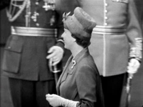 the queen smiles as she awaits president charles de gaulle to arrive at victoria station for his state visit 05 april 1960 - charles de gaulle stock videos and b-roll footage
