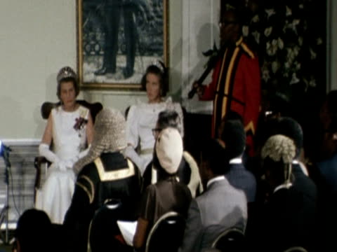 vídeos y material grabado en eventos de stock de the queen speaks in parliament in barbados during her silver jubilee tour - 1977