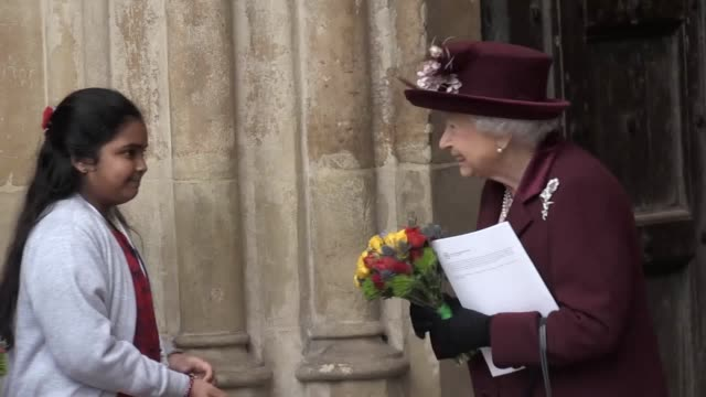 the queen the duke and duchess of cambridge prince harry and meghan markle leave the commonwealth day service at westminster abbey also includes... - british empire stock videos & royalty-free footage