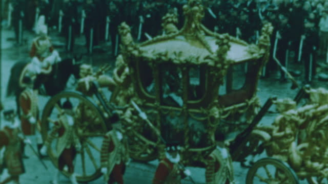 the queen travels in her gold carriage - 1953 stock videos & royalty-free footage