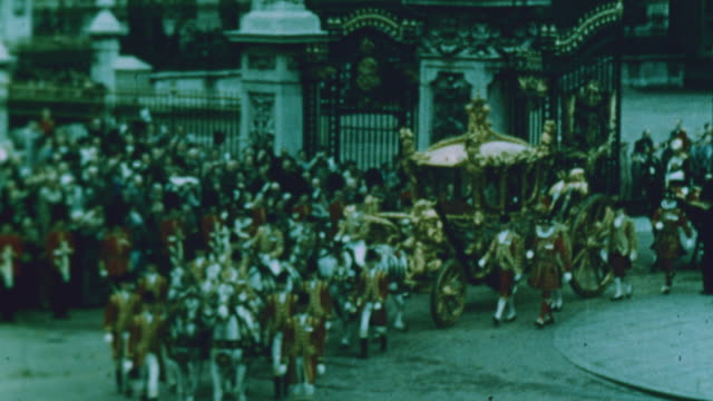 the queen travels in her golden carriage - 1953 stock videos & royalty-free footage