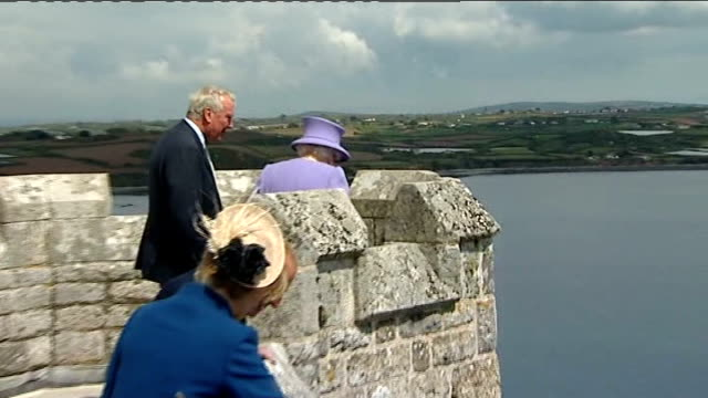 the queen visit to st michael's mount england cornwall st michael's mount ext the queen elizabeth ii and prince philip the duke of edinburgh along in... - book signing stock videos & royalty-free footage