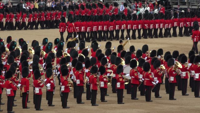 the queen's annual birthday parade, trooping the colour, horse guards parade, whitehall, london, england, united kingdom, europe - marching stock videos and b-roll footage