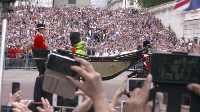 the queen's birthday parade on june 11, 2016 in london, england. - royalty stock videos & royalty-free footage