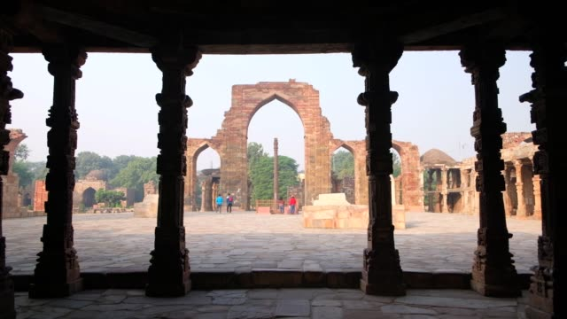 the qutb complex are monuments and buildings from the delhi sultanate at mehrauli in delhi, a unesco world heritage site. qutub or qutab minar is a... - sandstone stock videos & royalty-free footage