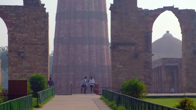 the qutb complex are monuments and buildings from the delhi sultanate at mehrauli in delhi, a unesco world heritage site. qutub or qutab minar is a... - marble stock videos & royalty-free footage