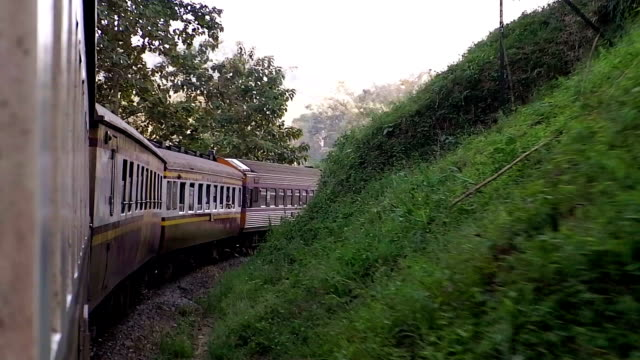 The railway curve and train at Thailand.