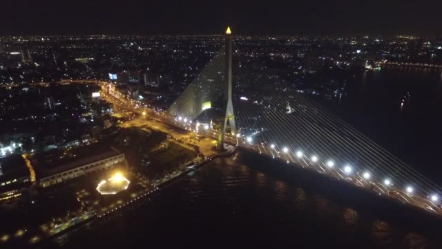 the rama viii bridge is a cable-stayed bridge crossing the chao phraya river in bangkok, thailand. it was conceived to alleviate traffic congestion... - cable stayed bridge stock videos & royalty-free footage