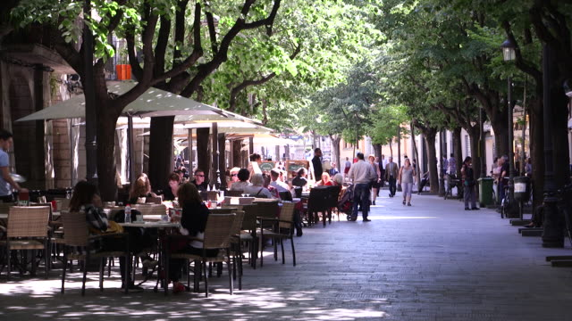 The Rambla in the historic centre of Girona, Spain