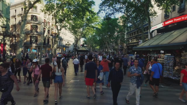 the ramblas in barcelona - barcelona spain stock videos & royalty-free footage
