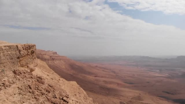 stockvideo's en b-roll-footage met the ramon crater located near the israeli town of mitzpe ramon in israel's southern negev desert is considered to be the world's largest erosion... - nederzettingen