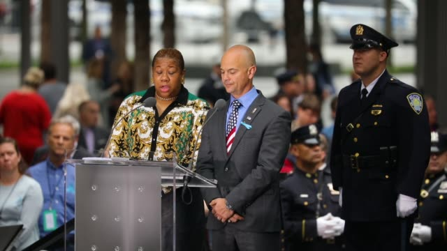the reading of the names of those who died in the 9/11 terrorist attacks takes place during a commemoration ceremony at the national september 11... - anniversary stock videos & royalty-free footage