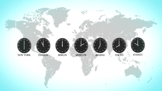 stockvideo's en b-roll-footage met the real world clock loop, capital cities time of the day, 4k video - capital cities