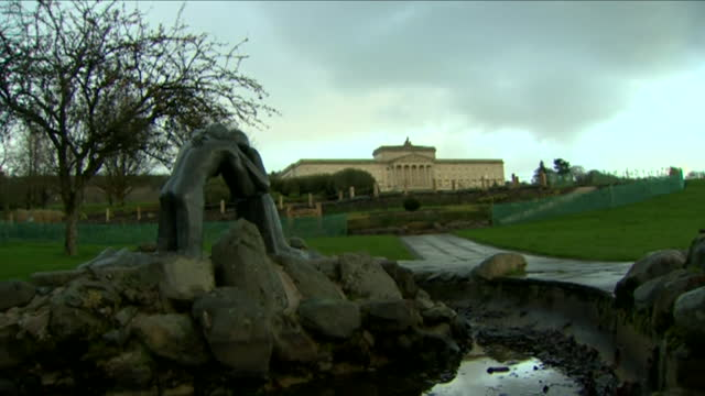 the 'reconciliation' sculpture outside stormont - male likeness stock videos & royalty-free footage