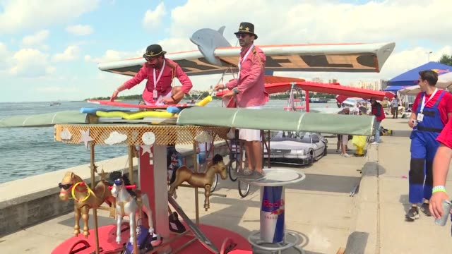 the red bull flugtag event is held in istanbul turkey on august 04 2019 the event sees competitors attempt to fly in homemade flying machines off a... - fifa world cup 2010 stock videos & royalty-free footage
