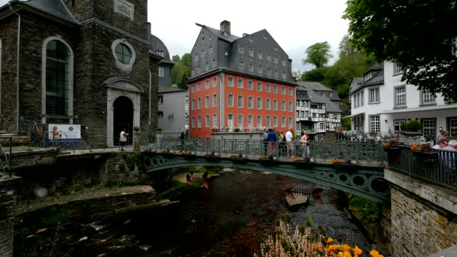 The Red House in the old town of Monschau, Eifel, North Rhine Westphalia, Germany