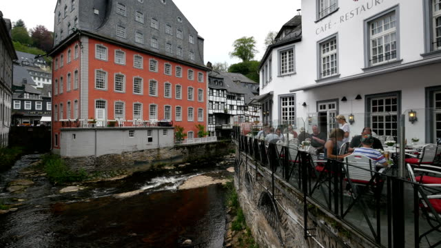 the red house in the old town of monschau, eifel, north rhine westphalia, germany - german culture stock videos & royalty-free footage