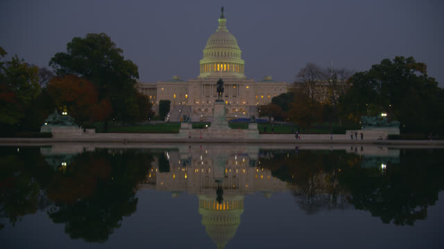 The Reflecting Pool casts a mirror image of the U.S. Capitol Building in Washington, D.C.