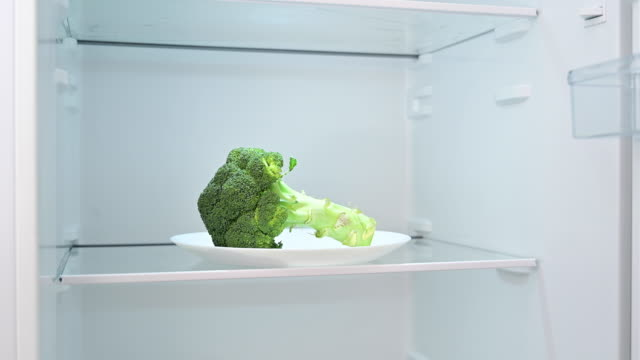 the refrigerator opens and there is a piece of broccoli inside. - position stock videos & royalty-free footage