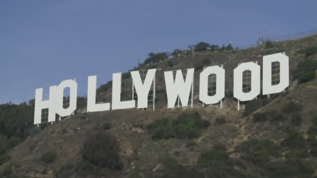 the refurbished hollywood sign was presented in all its freshlypainted glory tuesday after its biggest makeover for 35 years in time for 90th... - 90th birthday stock videos & royalty-free footage