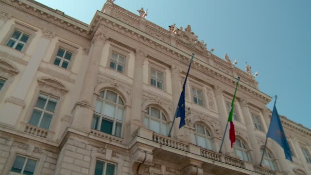 the region palace in piazza dell'unità d'italia in triest close up with small pan - number 4 stock videos & royalty-free footage