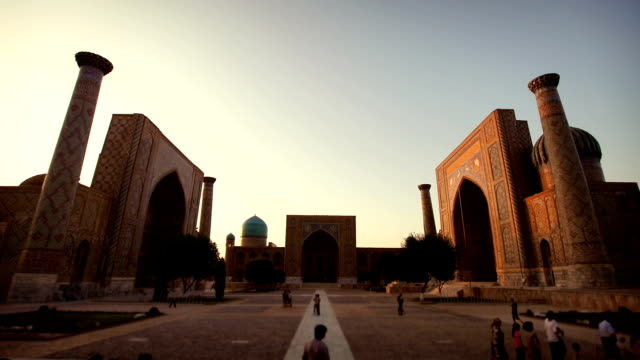 the registan, samarkand, uzbekistan - paintings stock videos and b-roll footage