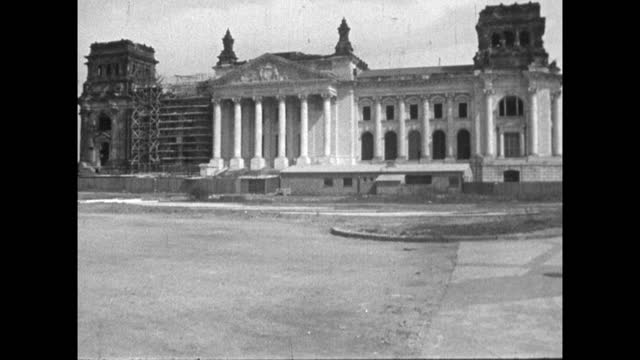 the reichstag building exterior under reconstruction; 1959 - 1950 1959 stock videos & royalty-free footage
