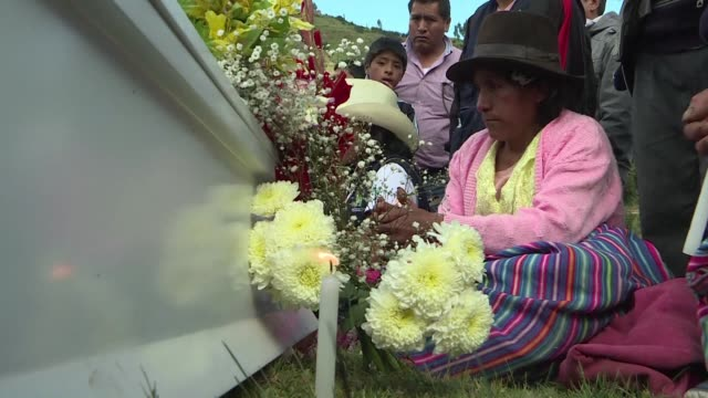 The remains of 23 victims of Peru's internal conflict which ran from 1980 to 2000 are handed over to relatives by the Public Prosecutor's Office and...