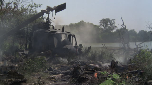 The remains of a helicopter smokes in the jungle.
