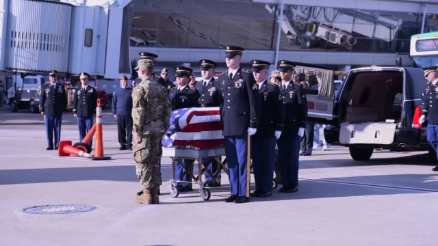 the remains of an indiana soldier deployed to the korean war in august 1950 and went missing in action during the battle of unsan months later were... - hearse stock videos & royalty-free footage